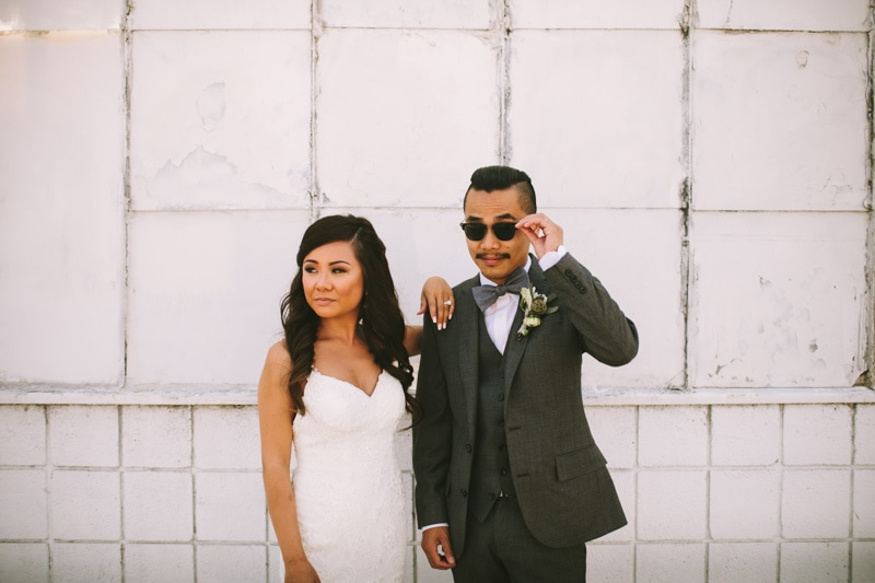 cool bride and groom
