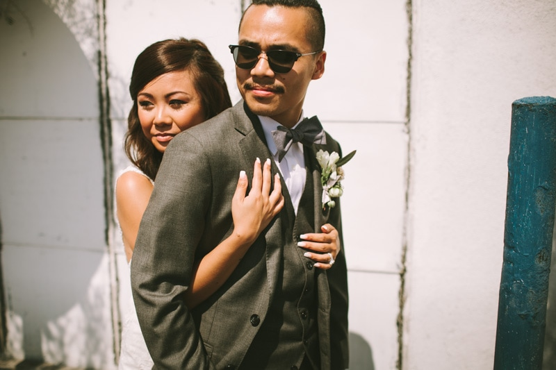 cool bride and groom portrait