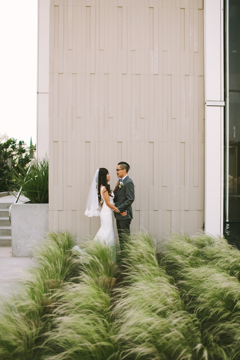 couple standing in front of tall grass