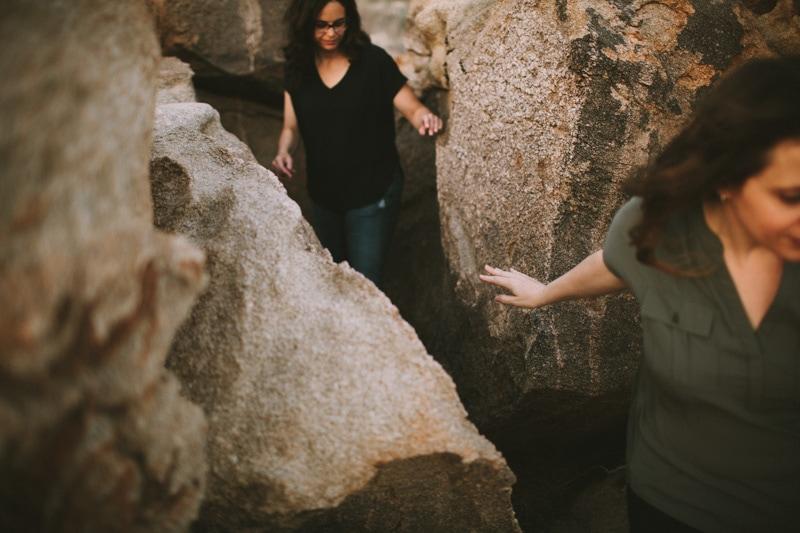 walking in between rocks