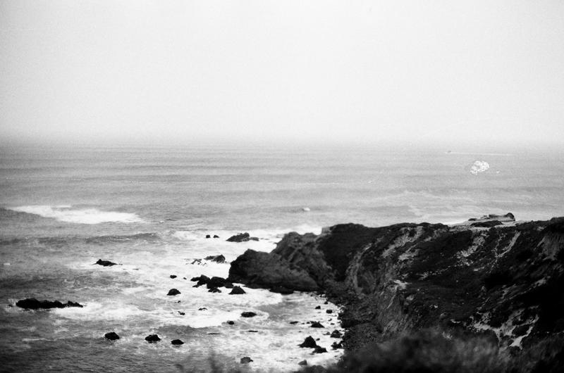 black+white film of big sur