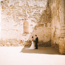 San Juan Capistrano Mission wedding portrait