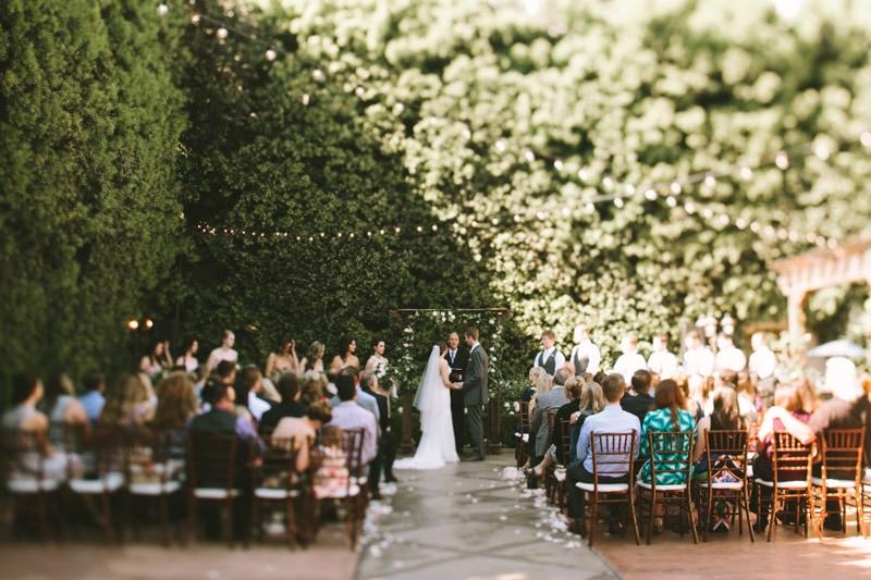 wedding ceremony at Franciscan Gardens
