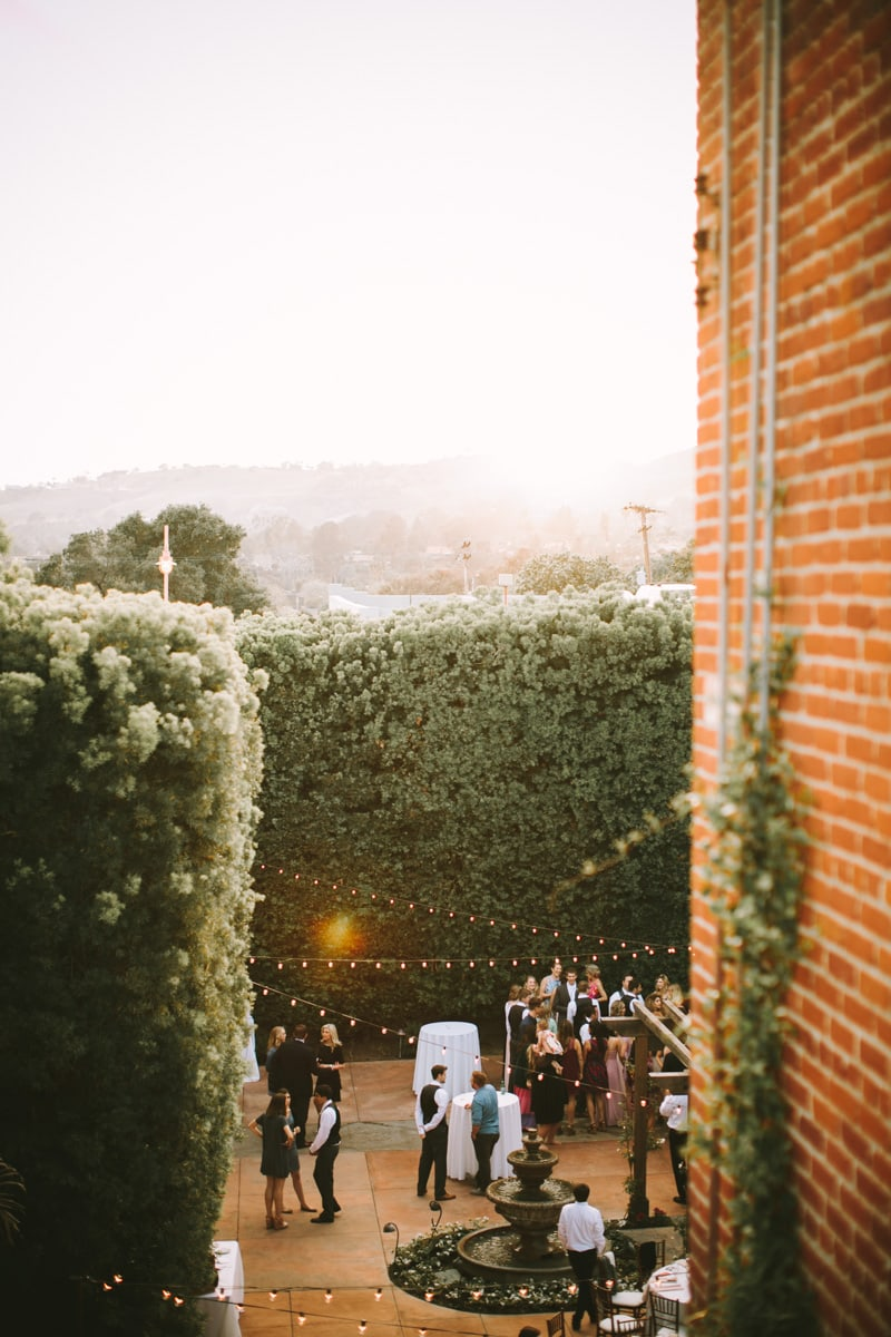 view of wedding reception at Franciscan Gardens