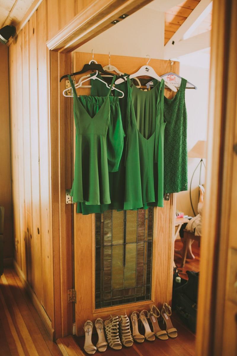 bridesmaids' green dresses