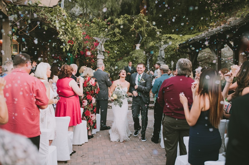 fun wedding recessional with bubbles
