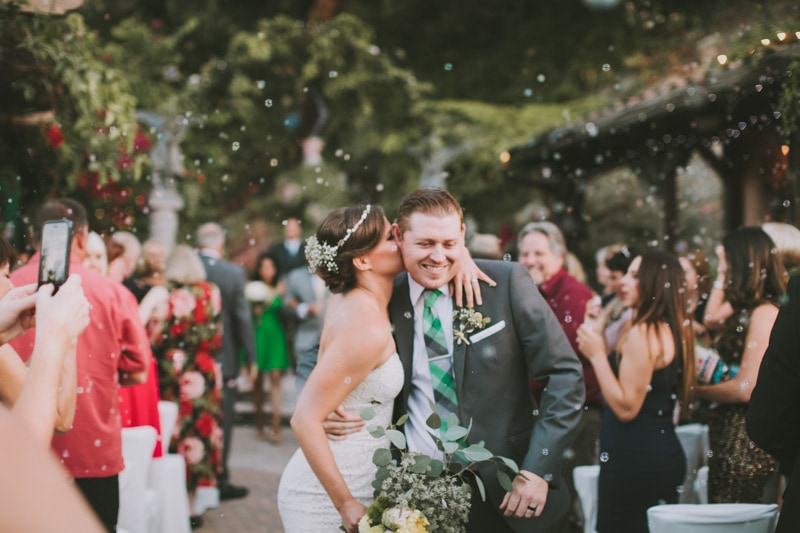 kissing during wedding recessional