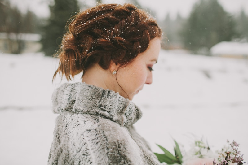red hair with snowflakes