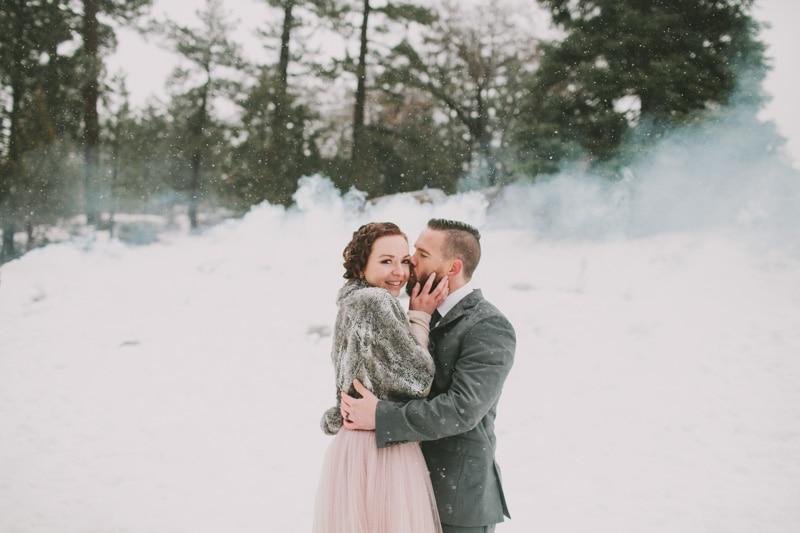 couple in big bear snow