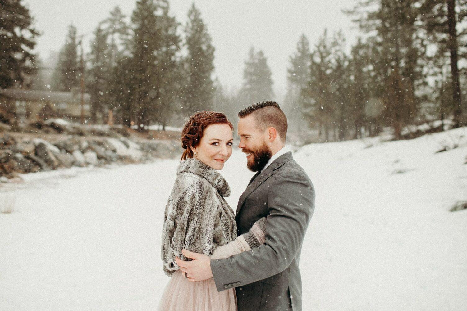 snowy big bear small wedding