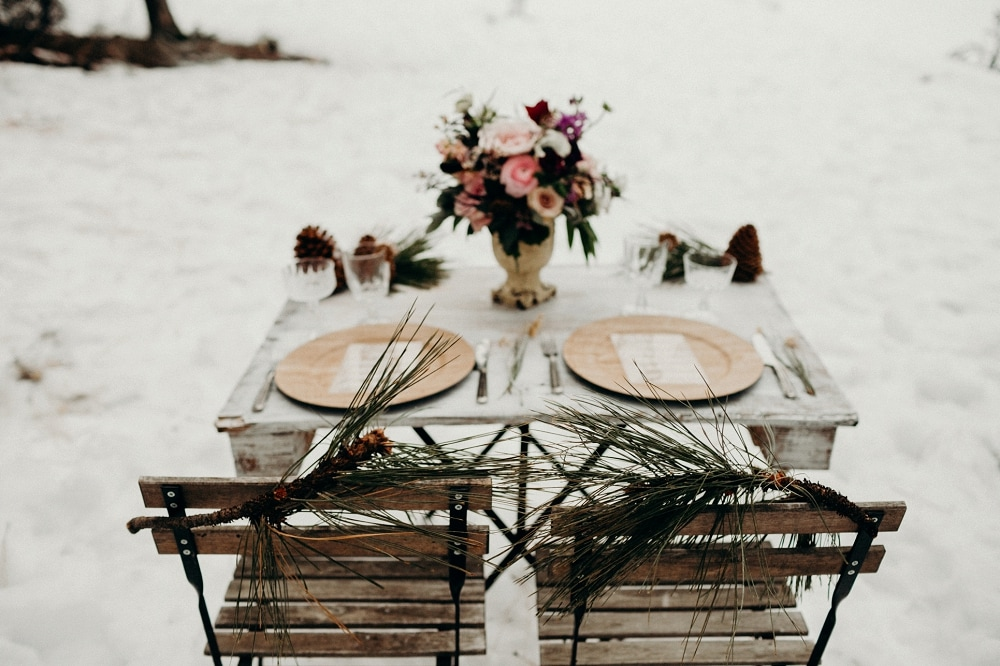 winter elopement place setting