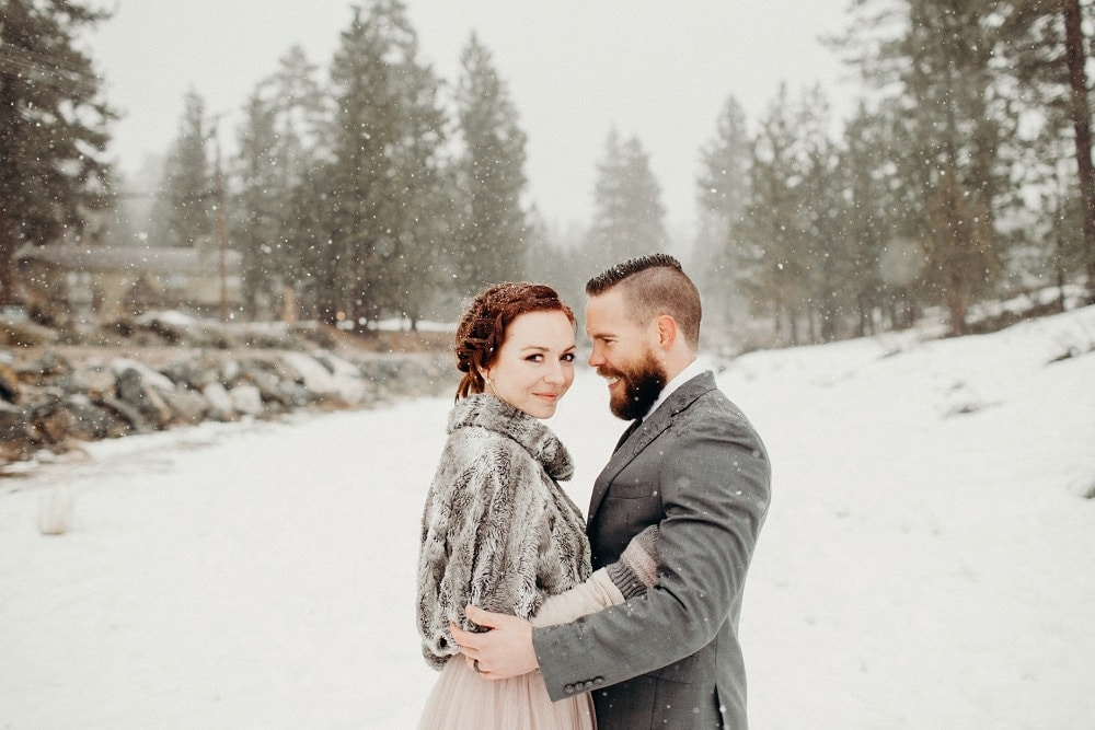 snowy winter elopement