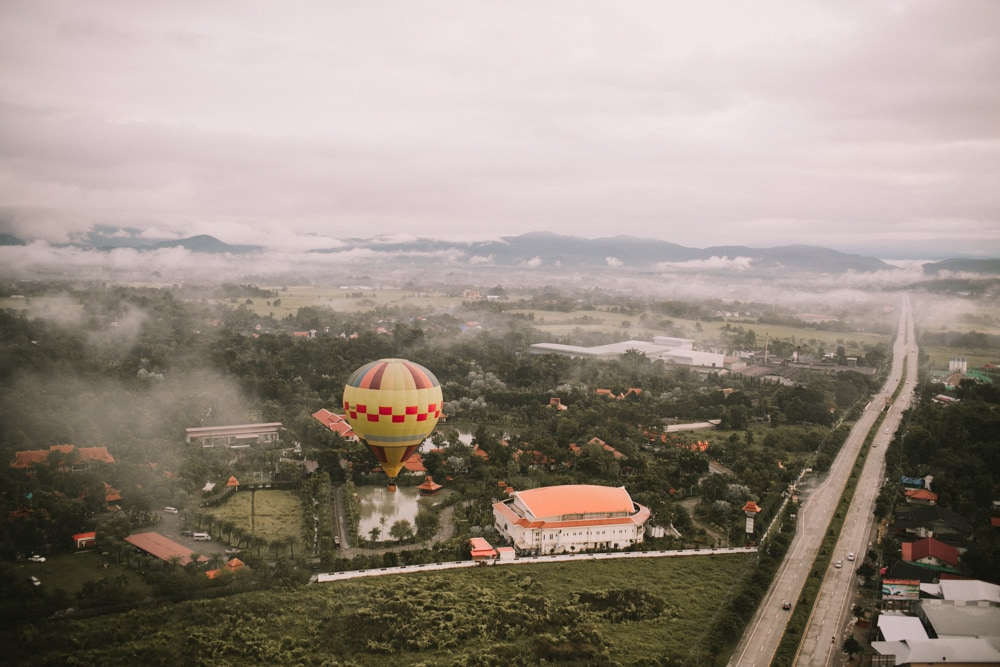 view from hot air balloon ride in chiang mai