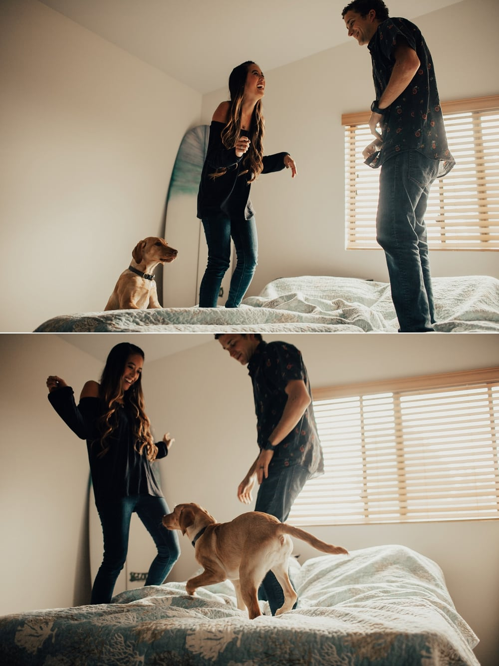 jumping on the bed with a puppy