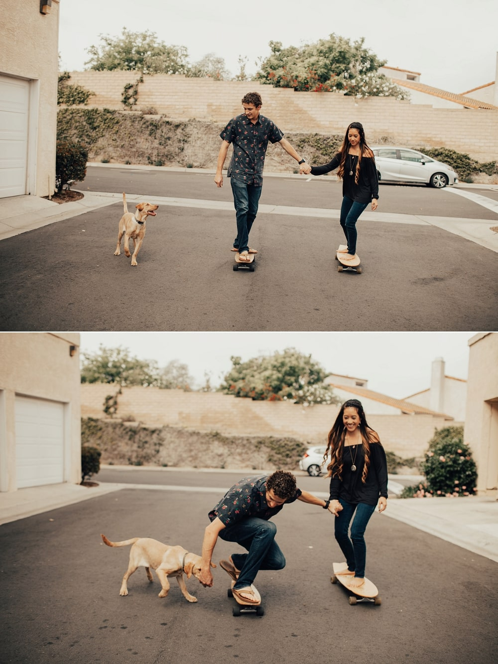 skateboarding with puppy