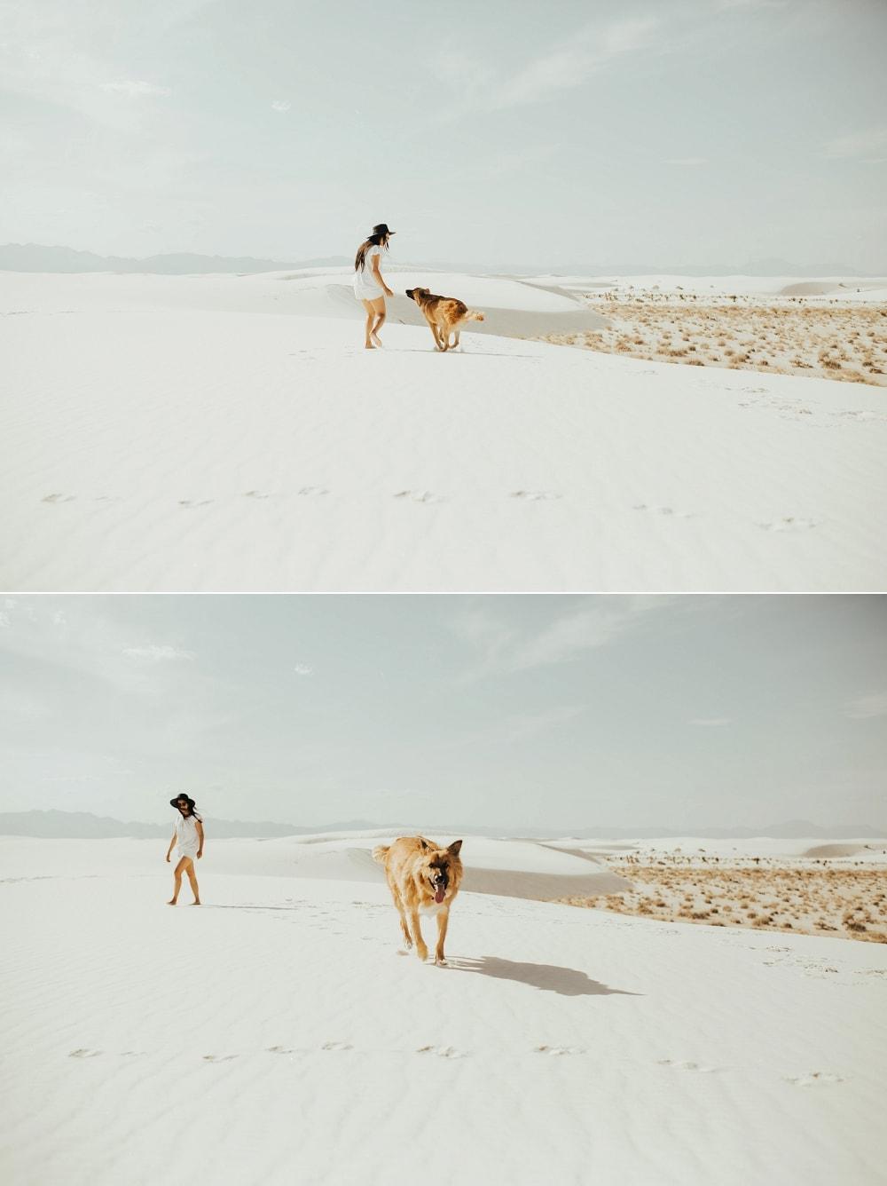 girl running around with dog