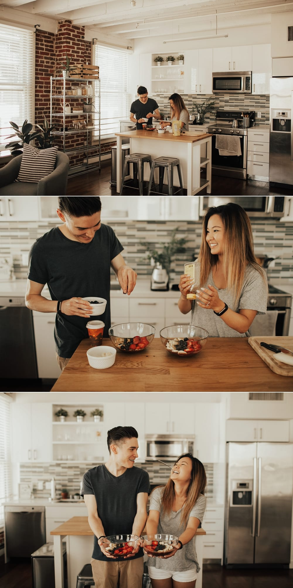 couple making acai bowls together