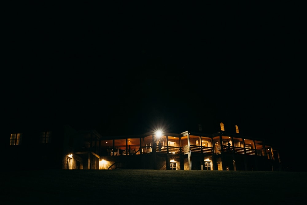 the lodge at charlemont at night