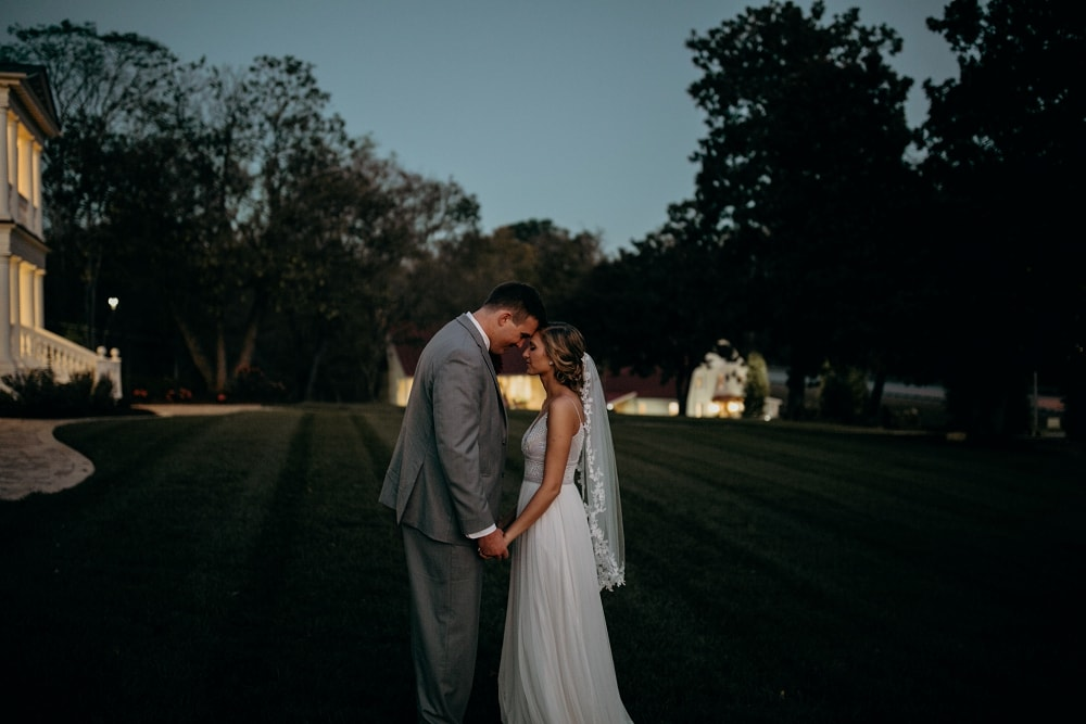 dusk wedding portraits