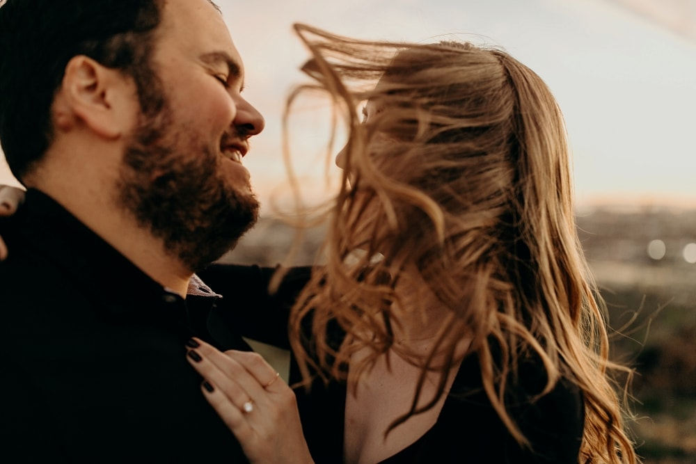 wind in the hair for engagement session