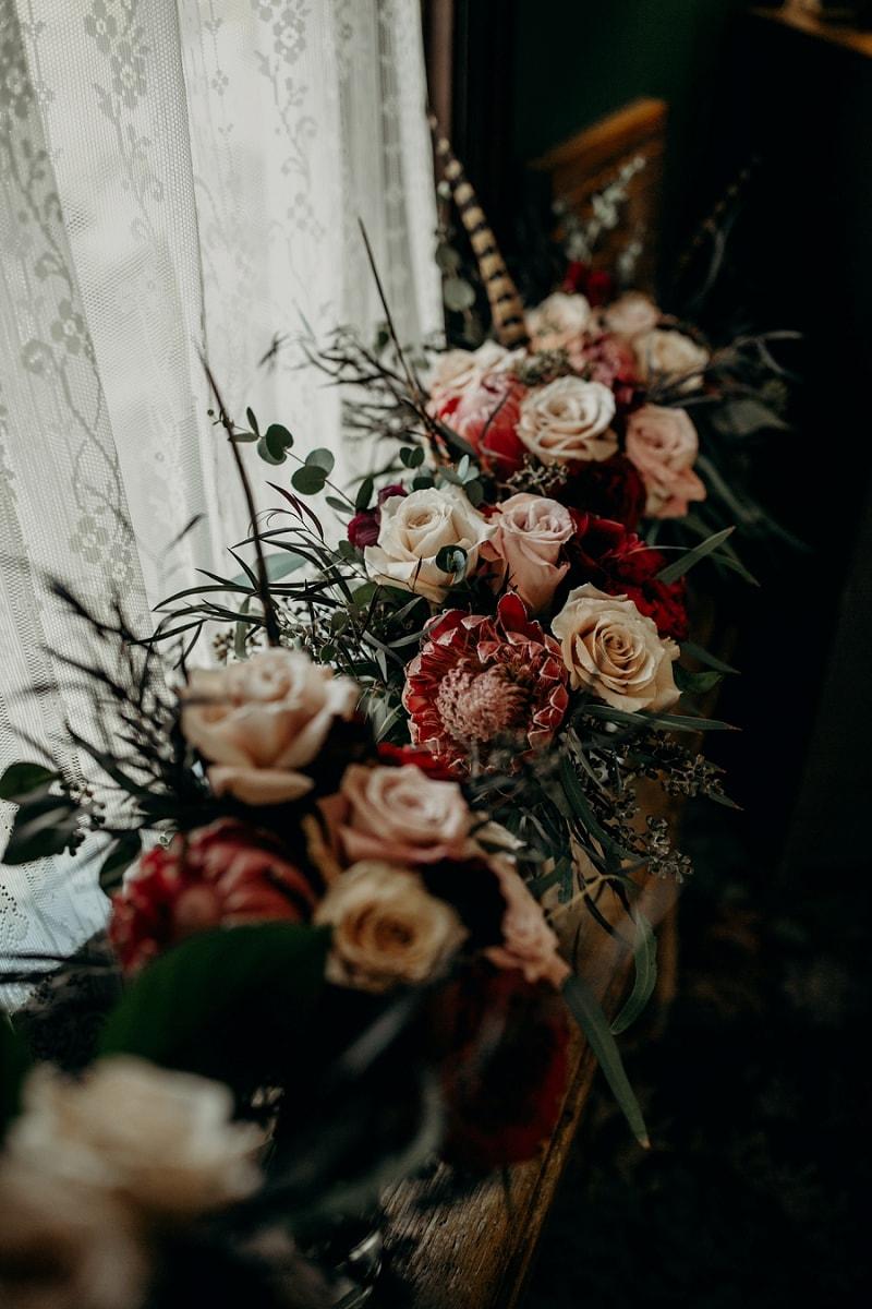 blush, pink, dark red unique wedding flower bouquet