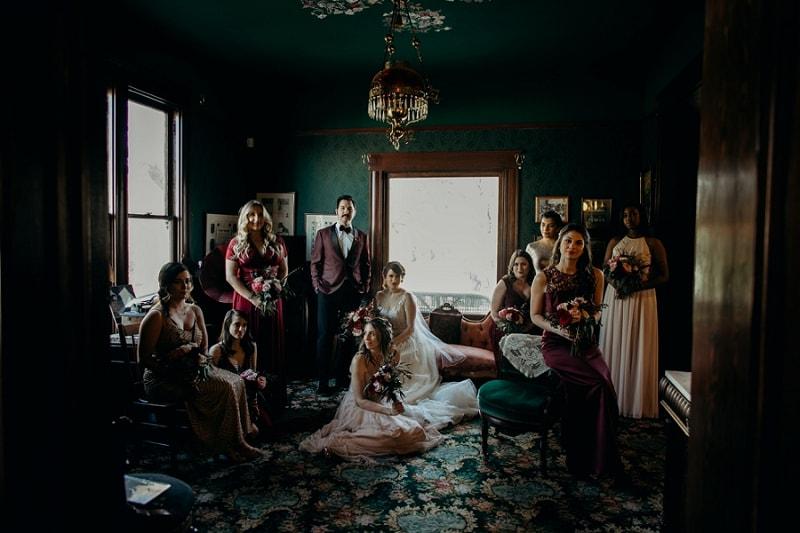 dramatic wedding party photo