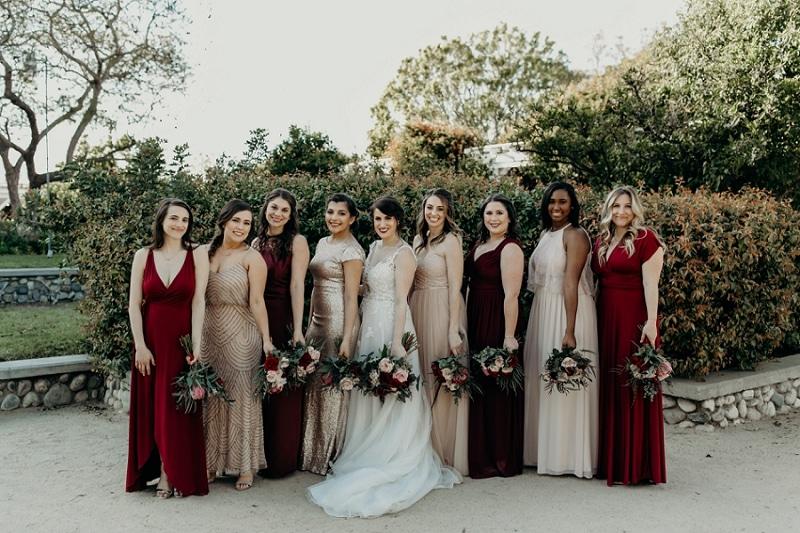blush, champagne, maroon, dark red bridesmaids