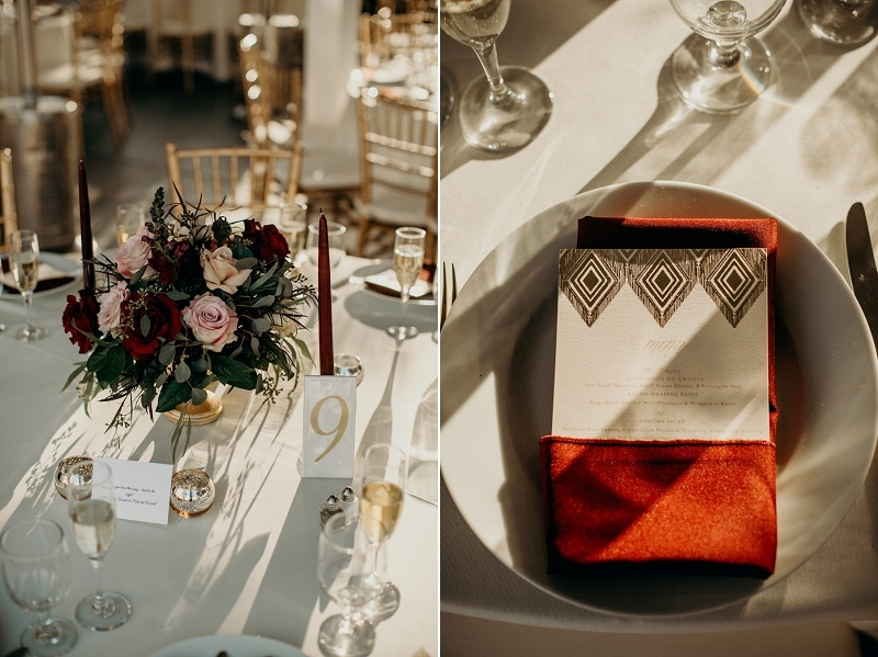 gold and dark red wedding details