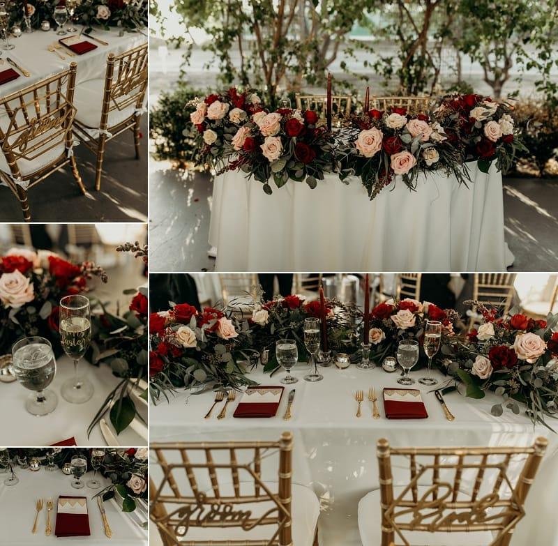 gold, pink, blush, dark red, maroon wedding detauls