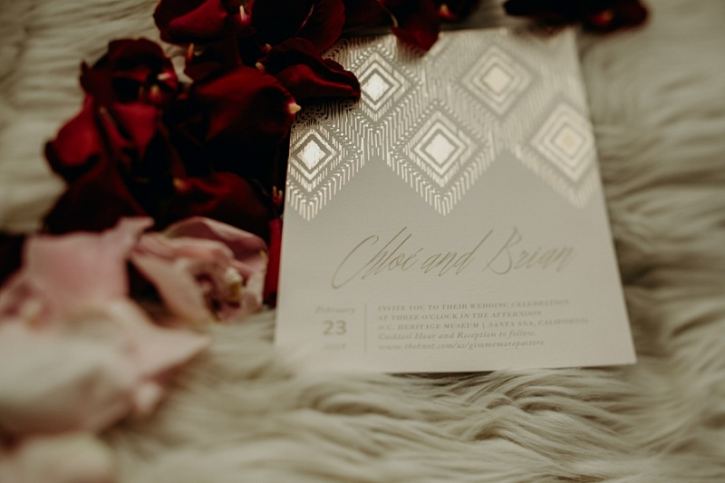 simple gold wedding invitation