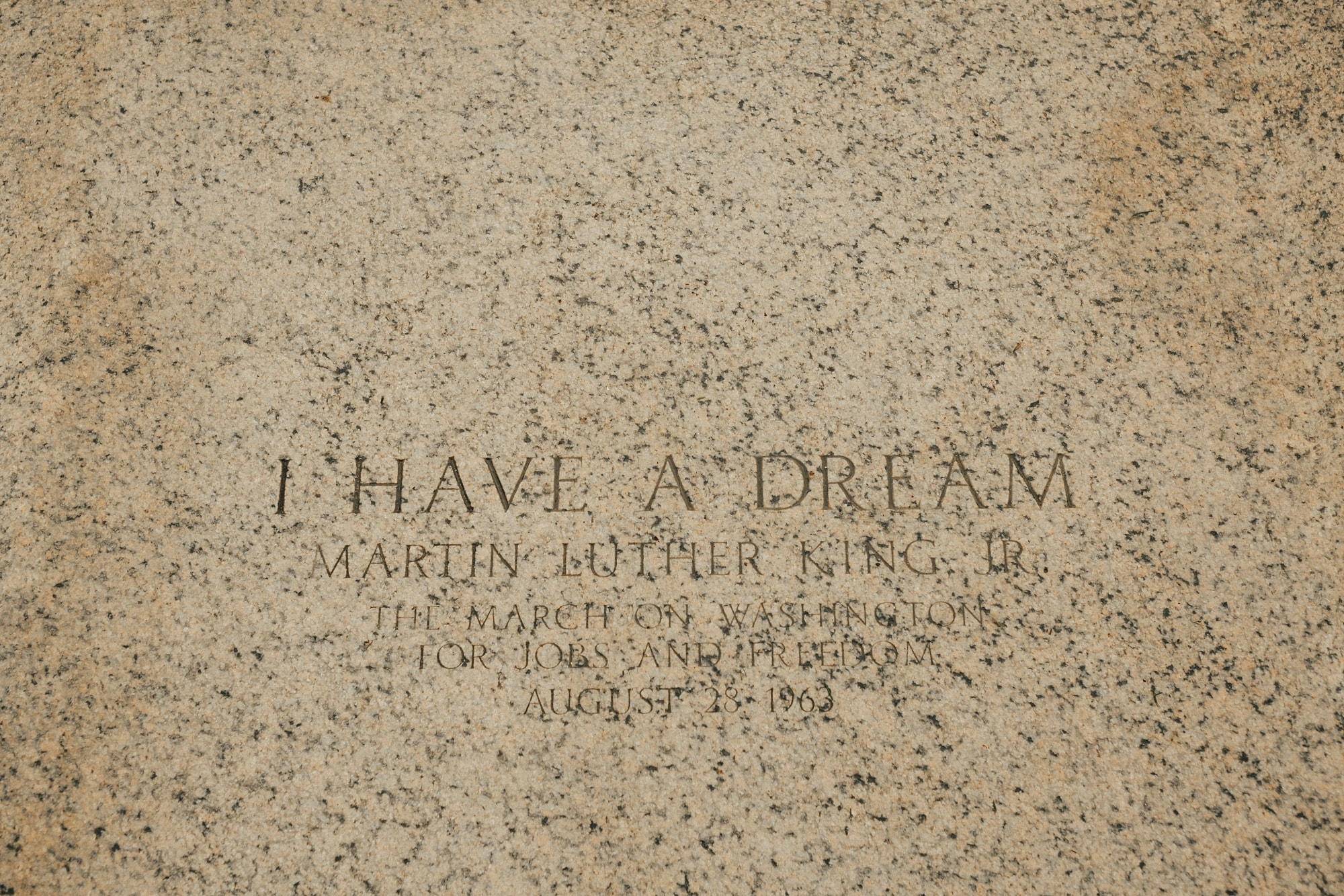 Martin Luther King I have a dream plaque at Lincoln Memorial