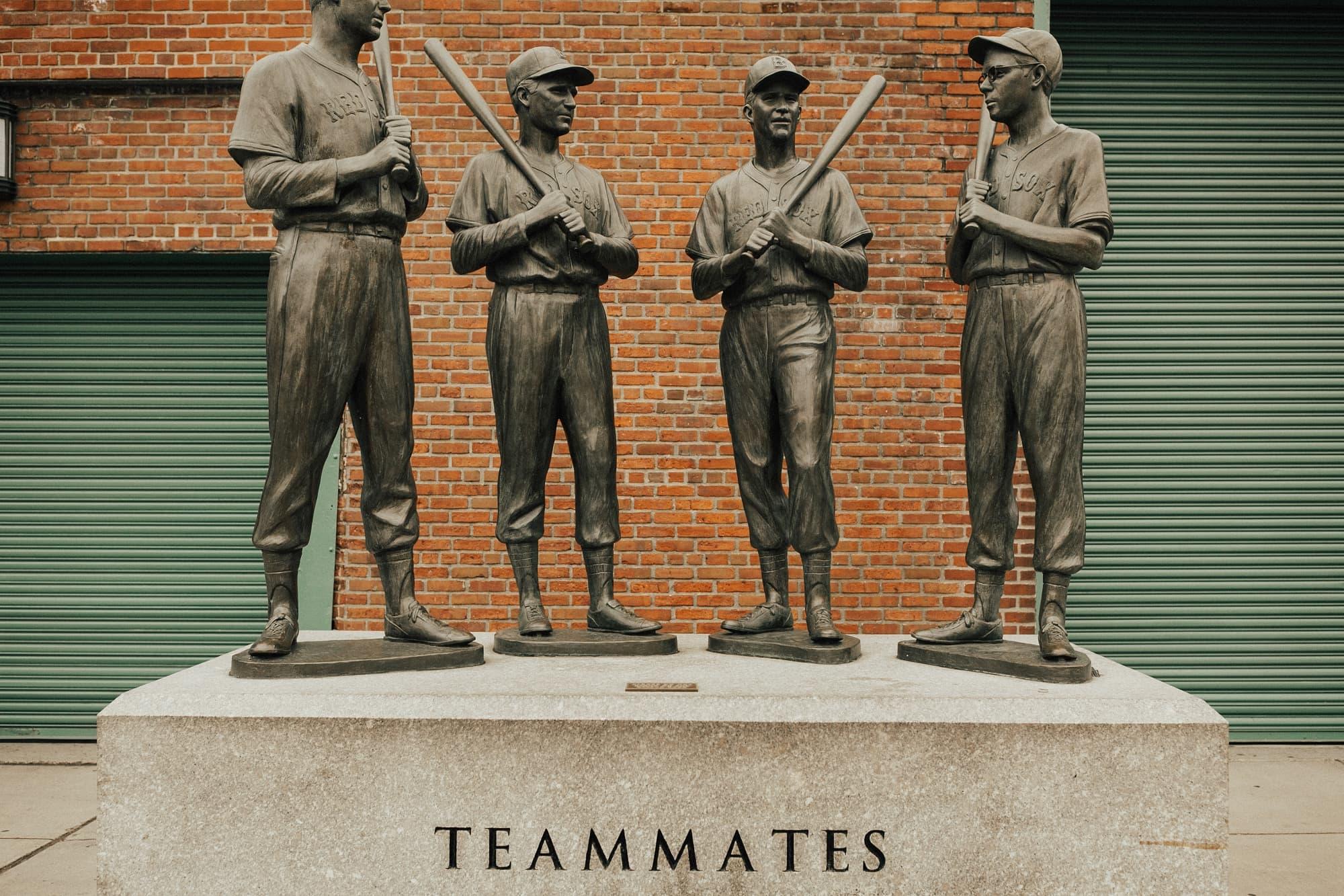 teammates statue at fenway park