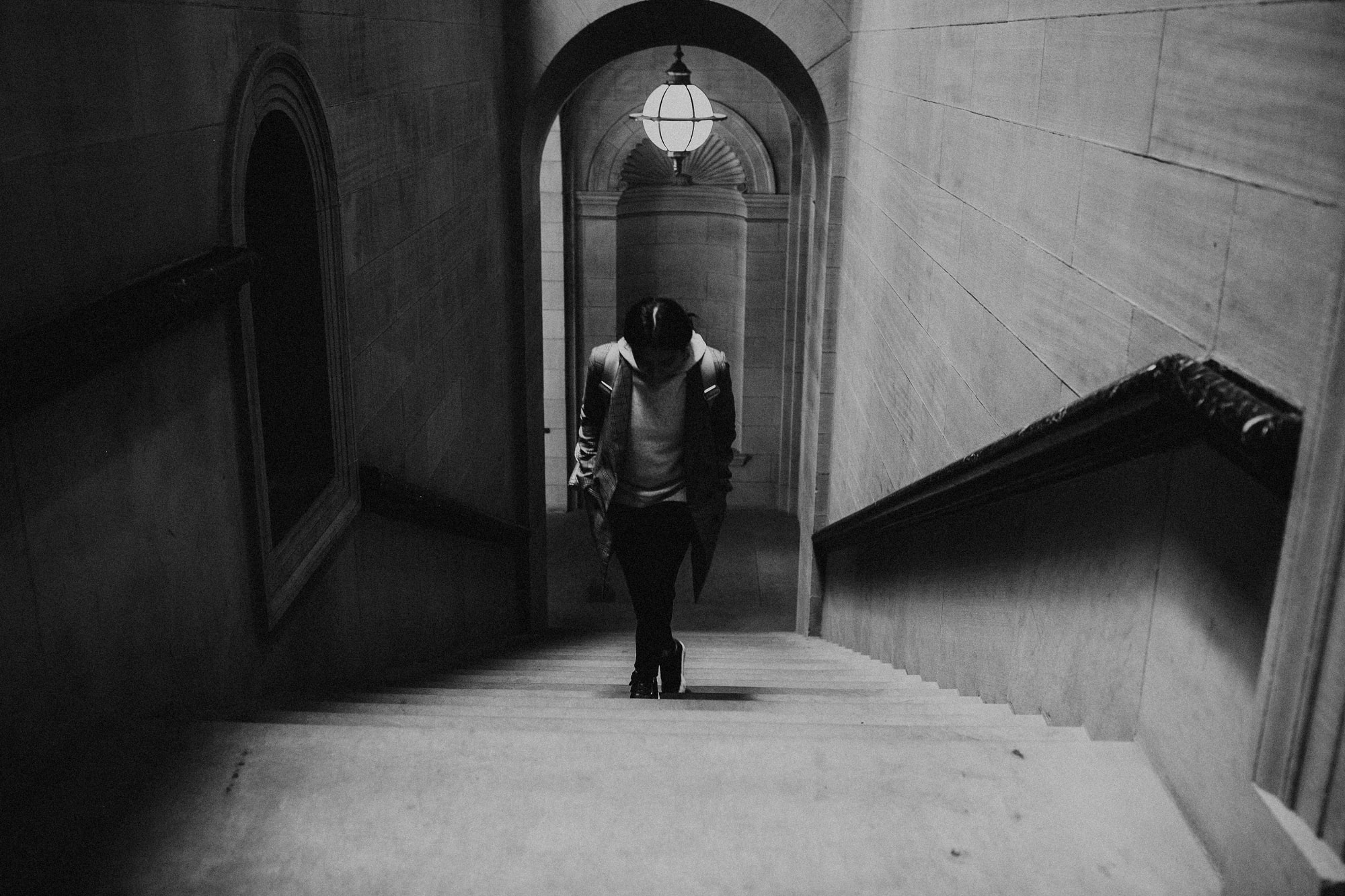 walking toward sargent gallery in boston library