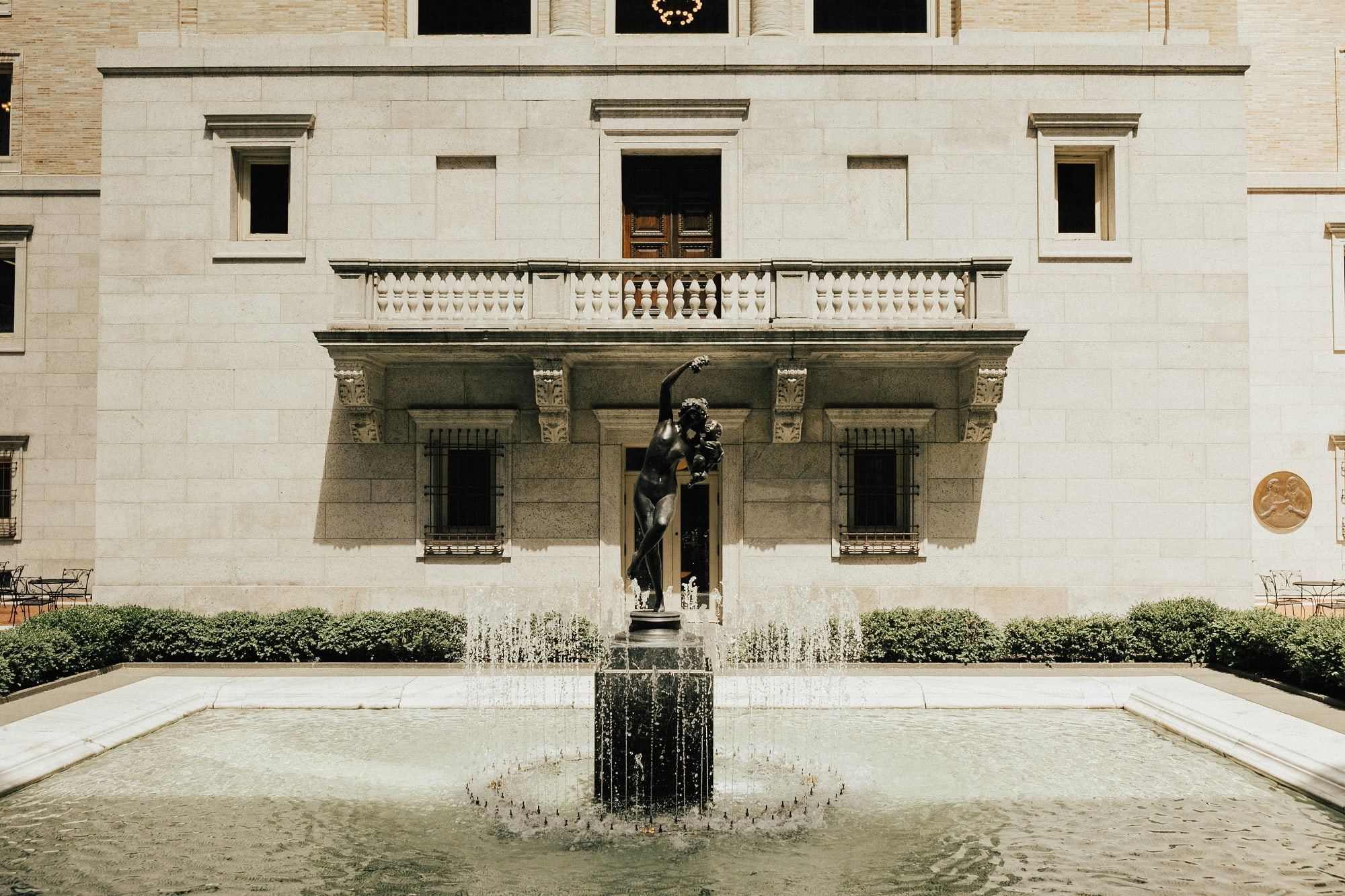 water feature fountain at boston library