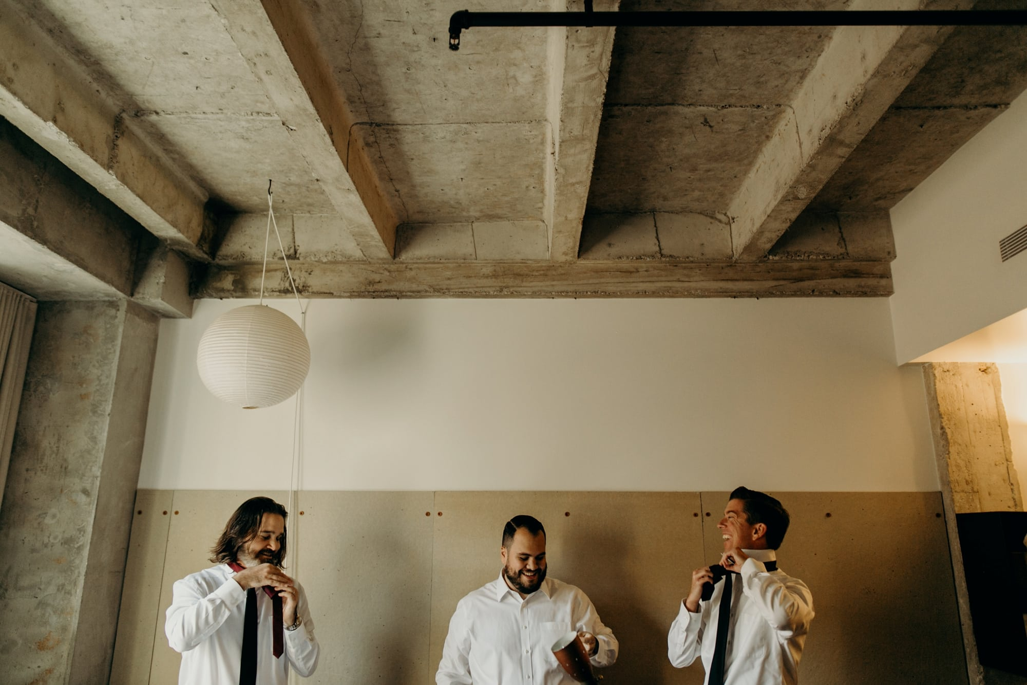 groom and groomsmen getting ready at the ace hotel los angeles