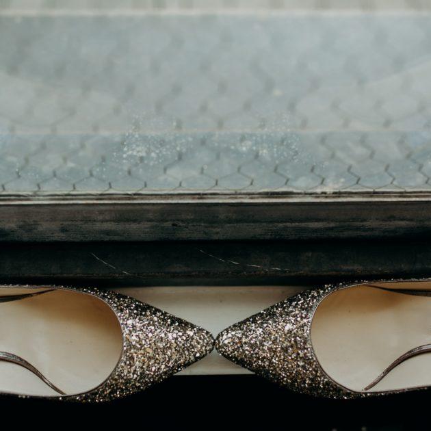 gold glittter shoes
