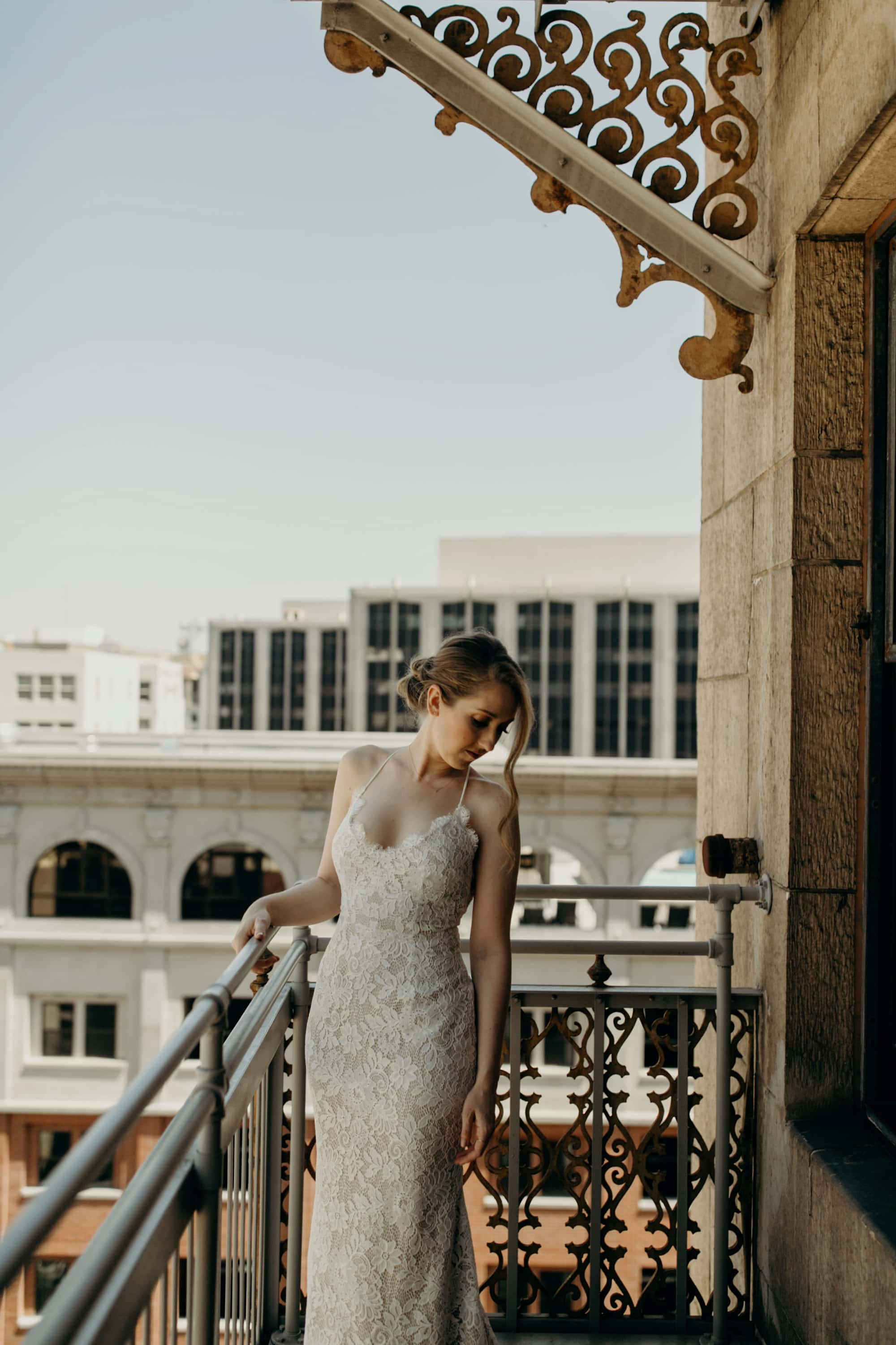portrait of bride on balcony of the ace hotel los angeles