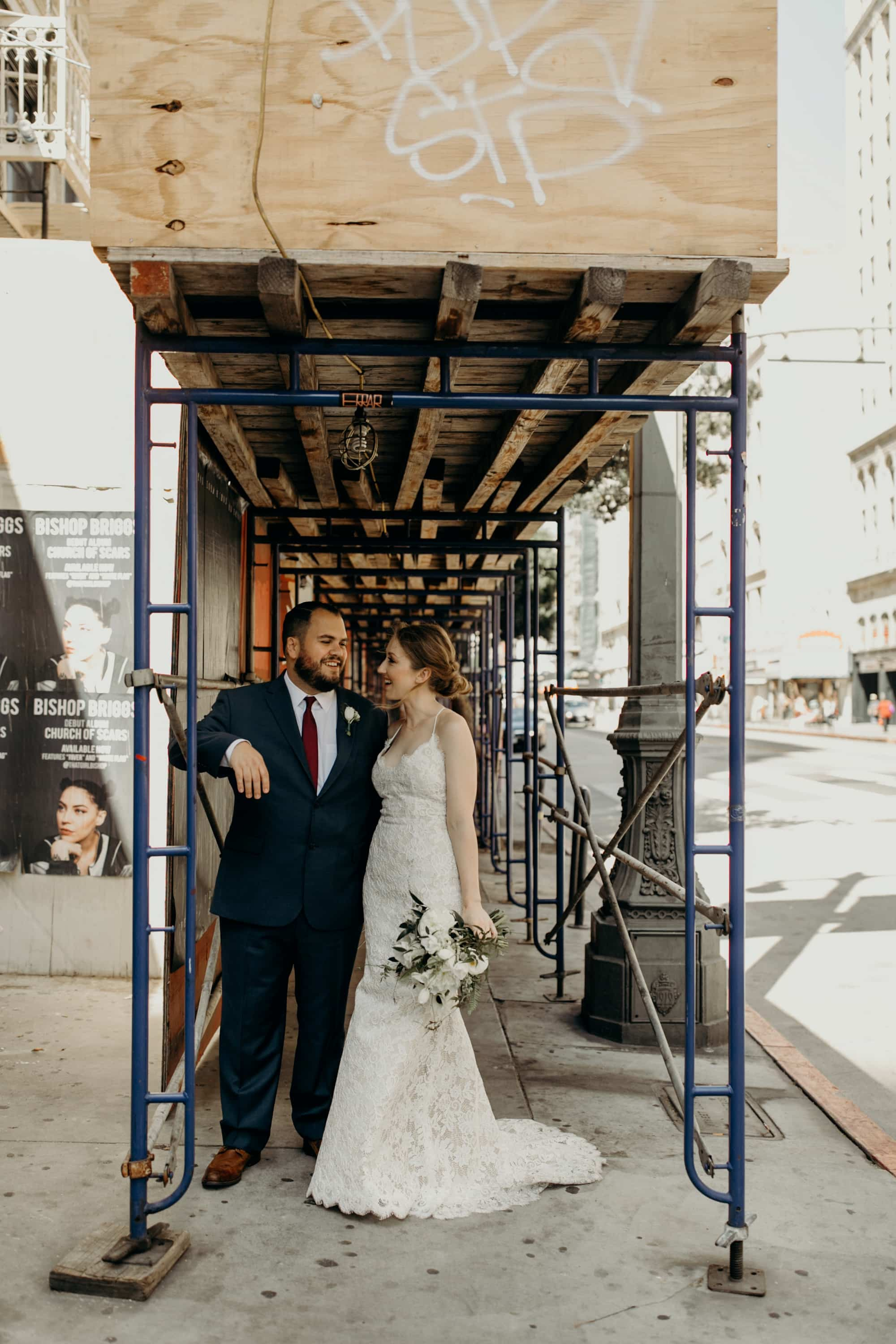 downtown los angeles city wedding portraits
