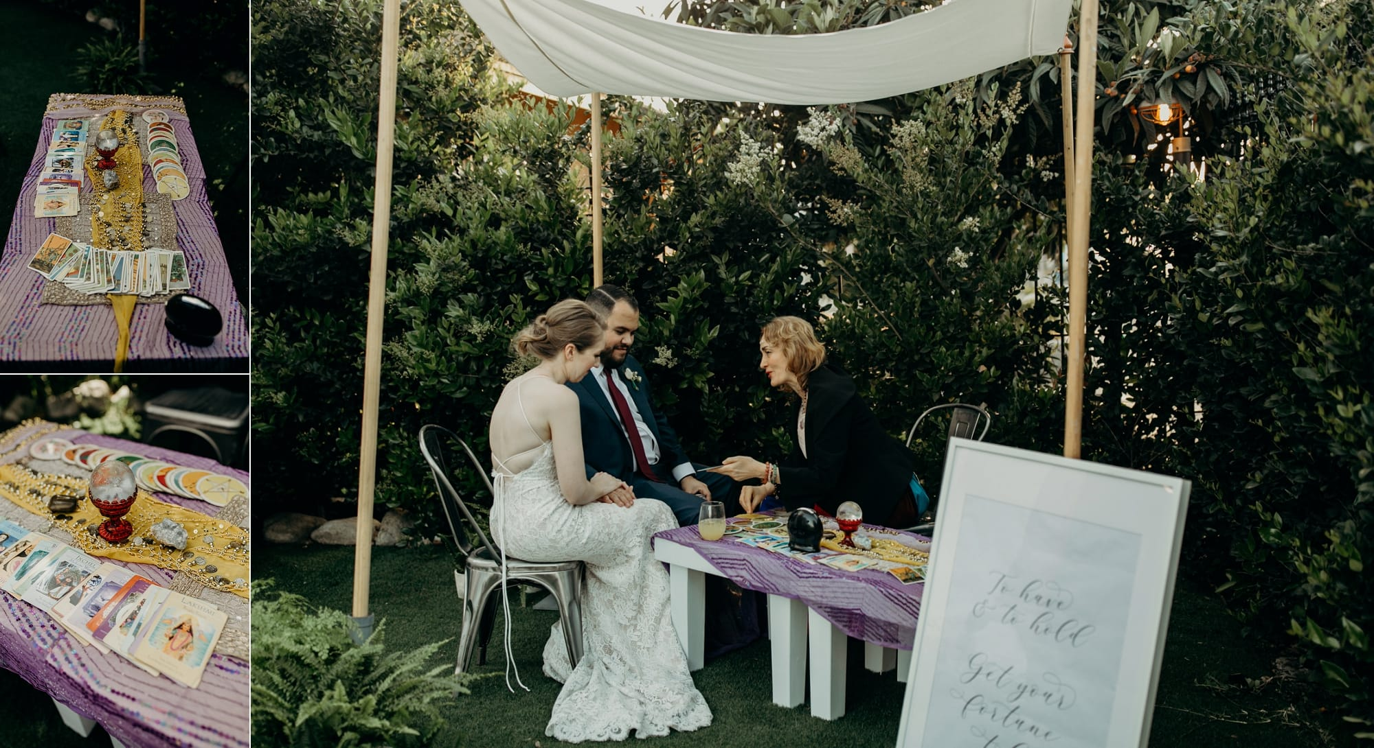 tarot card reader at a wedding during cocktail hour