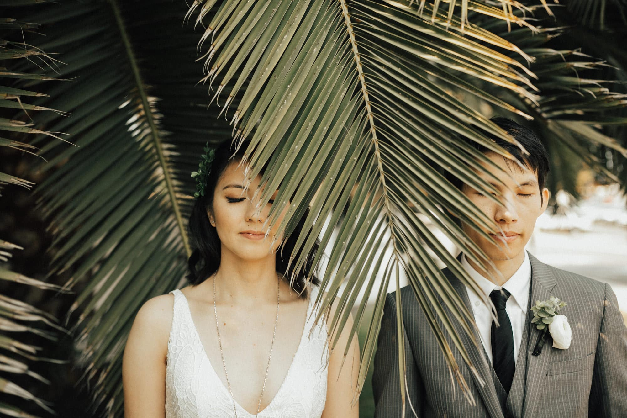 wedding portraits with palm leaf