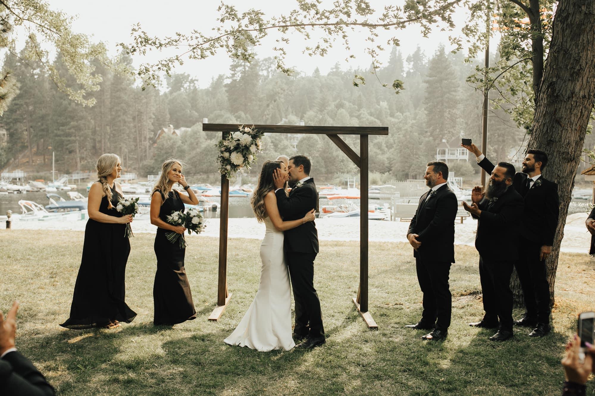 outdoor lake arrowhead wedding