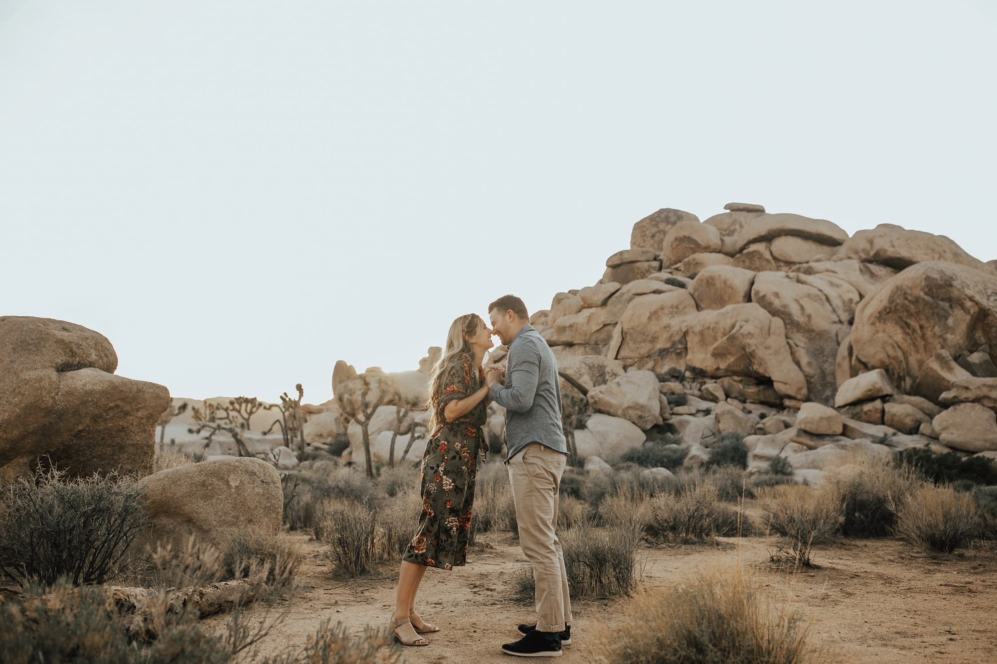 fun unique engagement photo at joshua tree