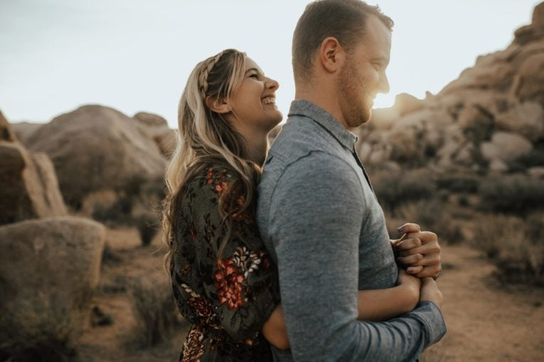 couple photo at joshua tree during sunset