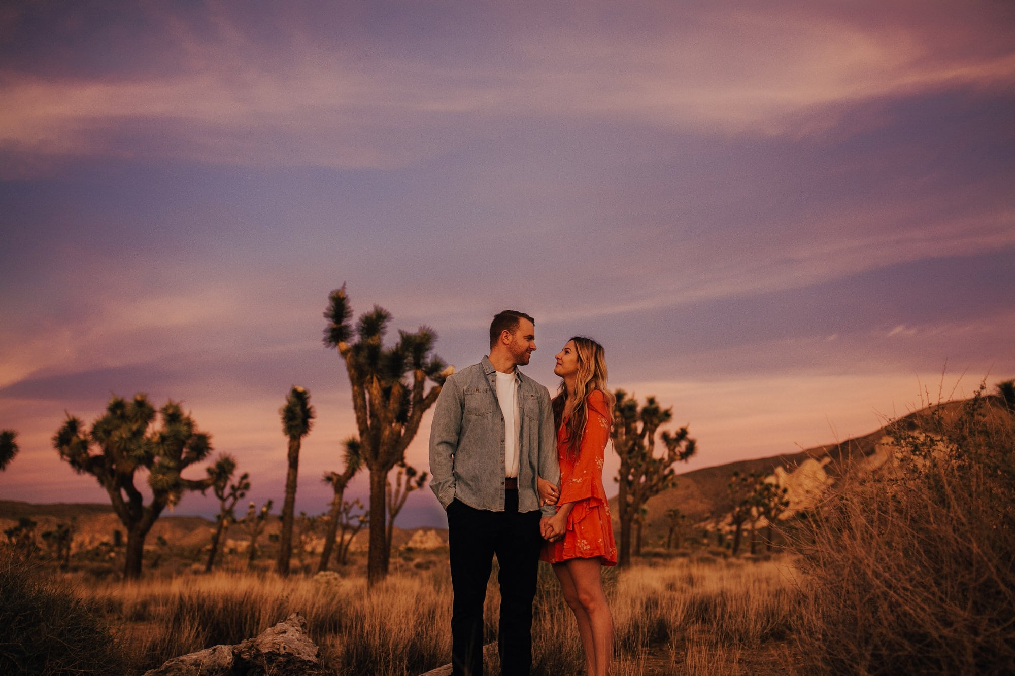 joshua tree engagement session with purple skies