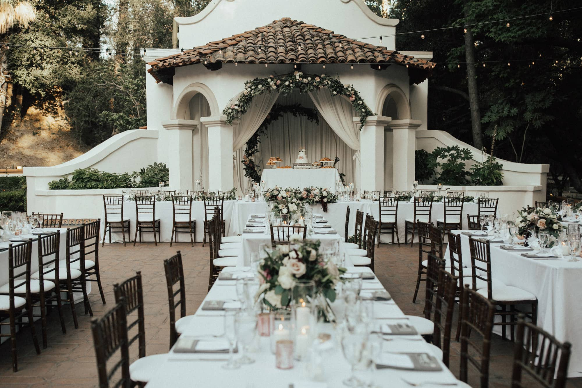 wedding table layout at rancho las lomas
