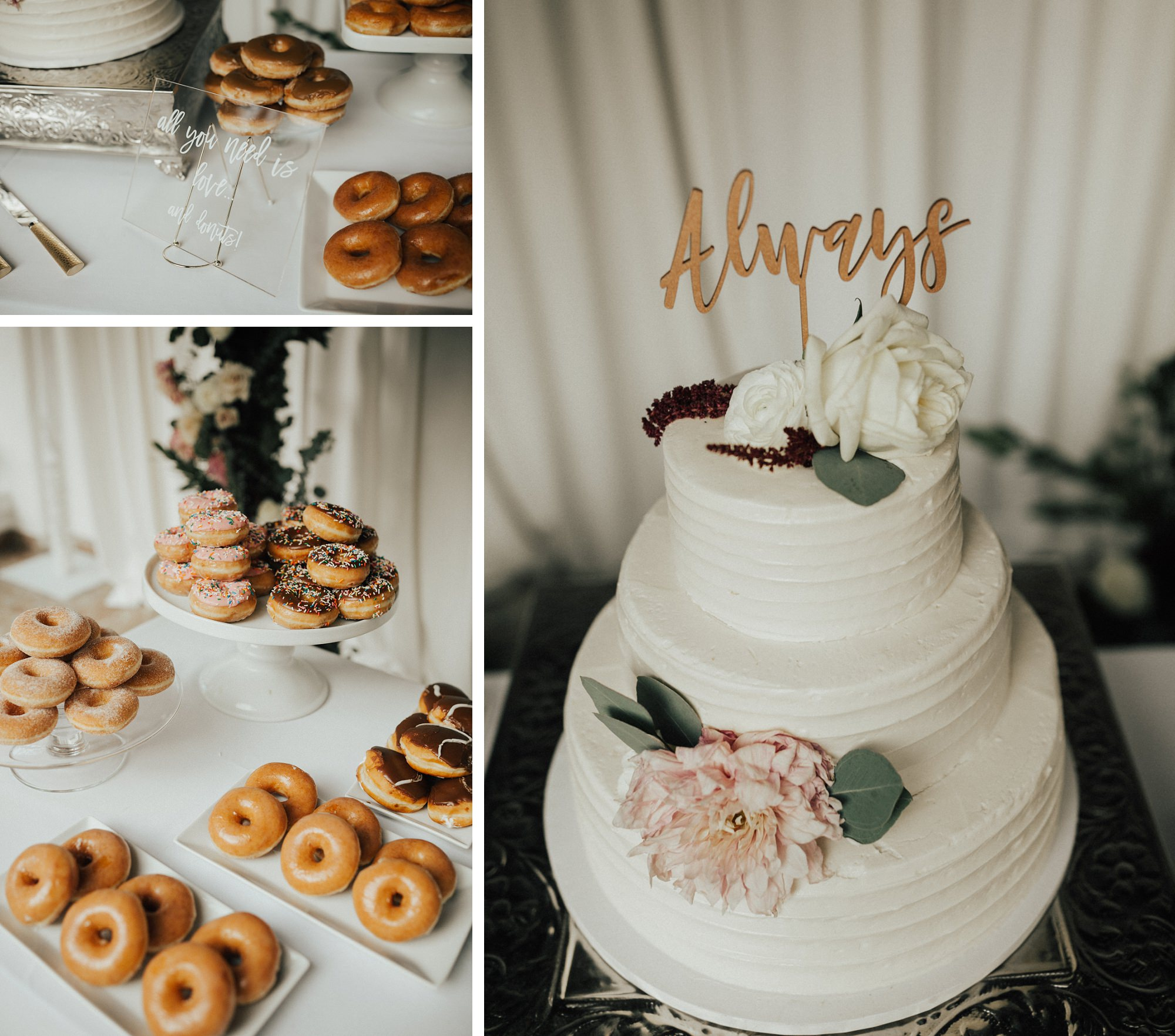 donuts and wedding cake
