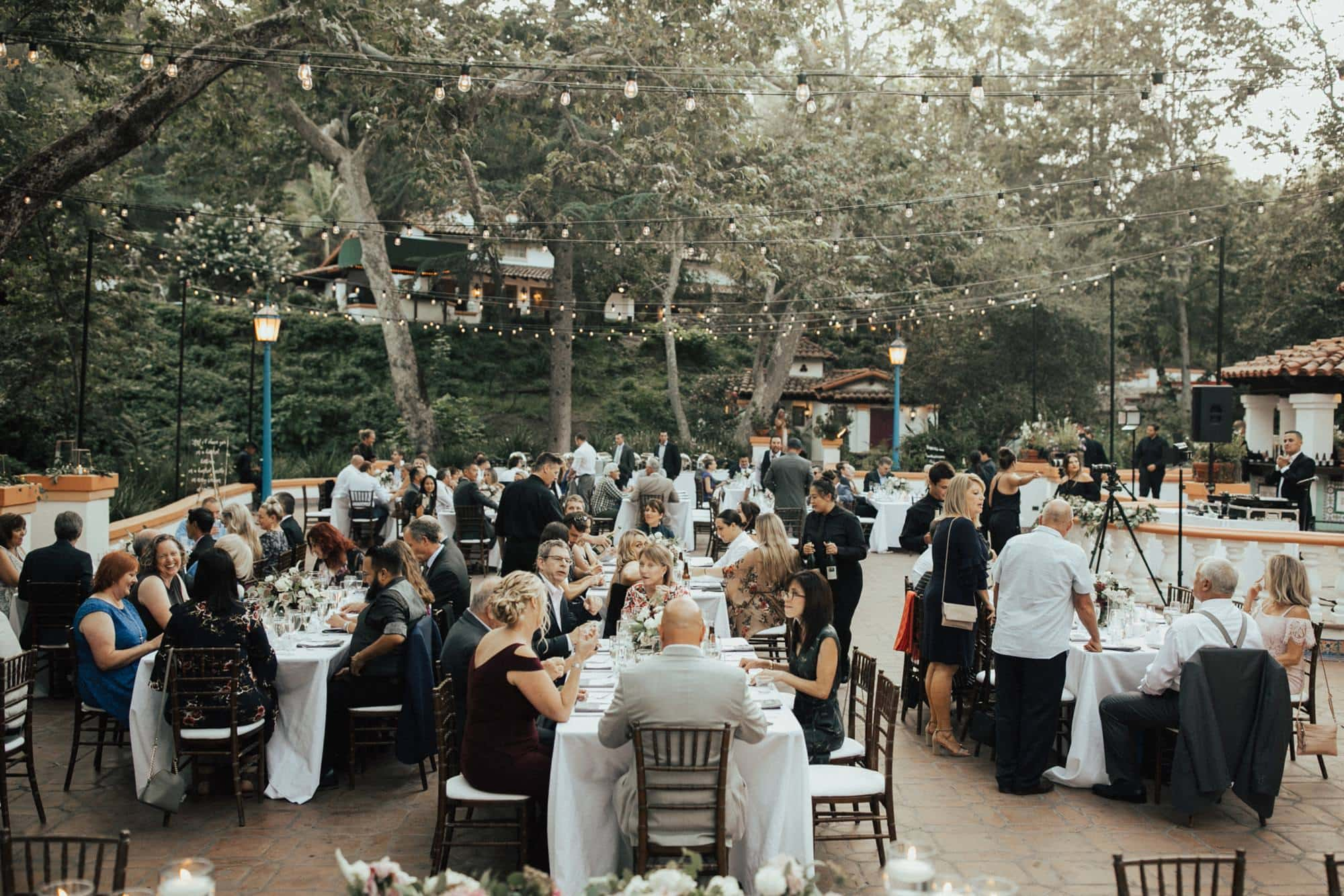 summer wedding reception at rancho las lomas