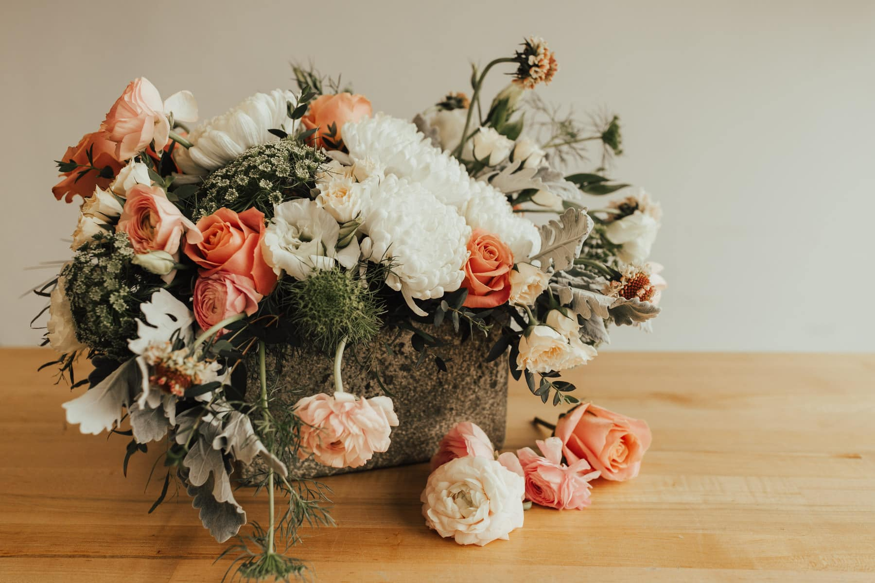 whimsical wedding floral centerpiece