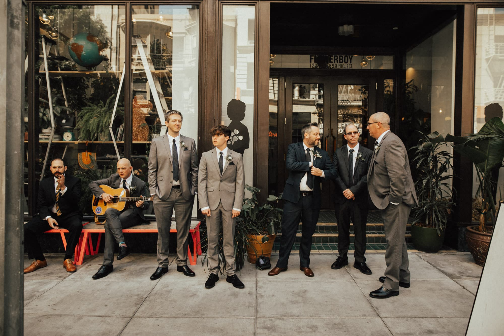 groomsmen outside of the freehand hotel