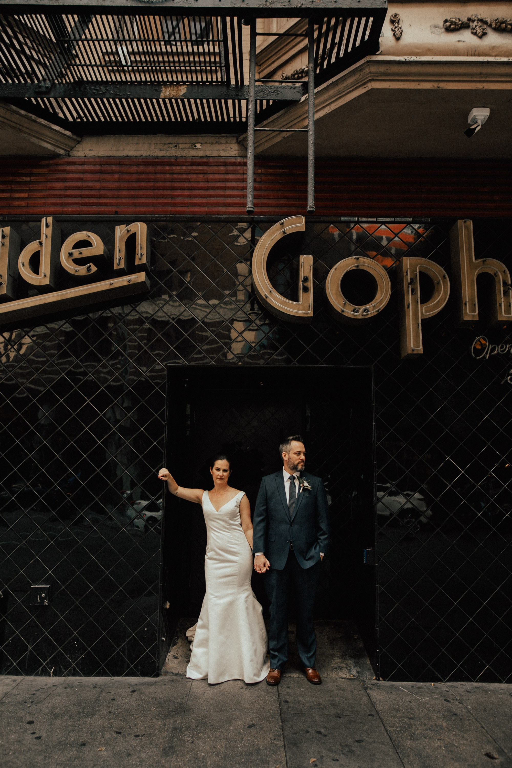 wedding portrait outside of the golden gopher